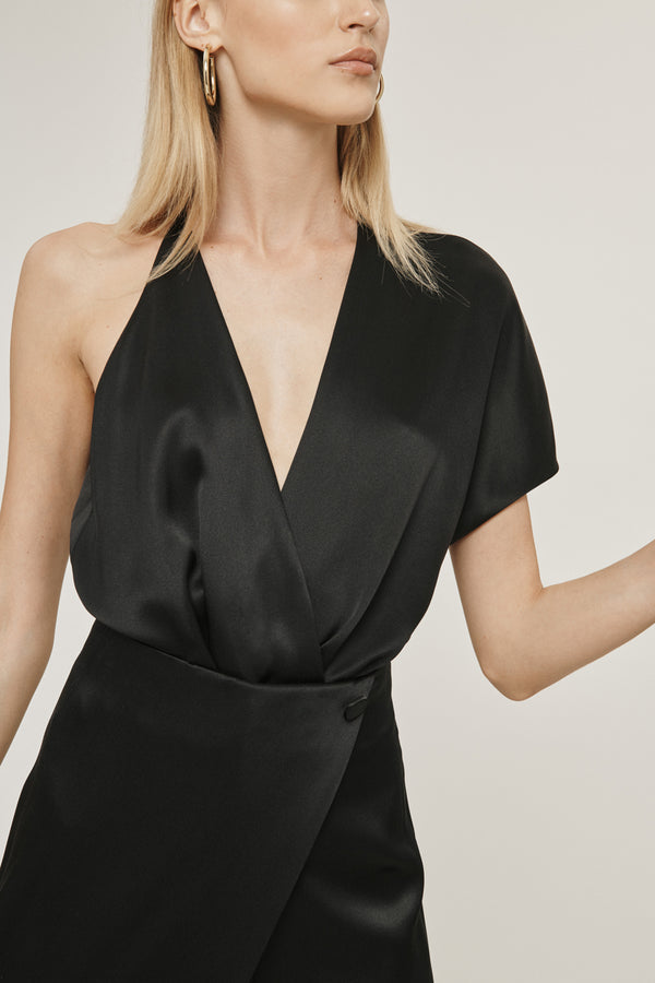 Black Silk Charmeuse Deep V Bodysuit