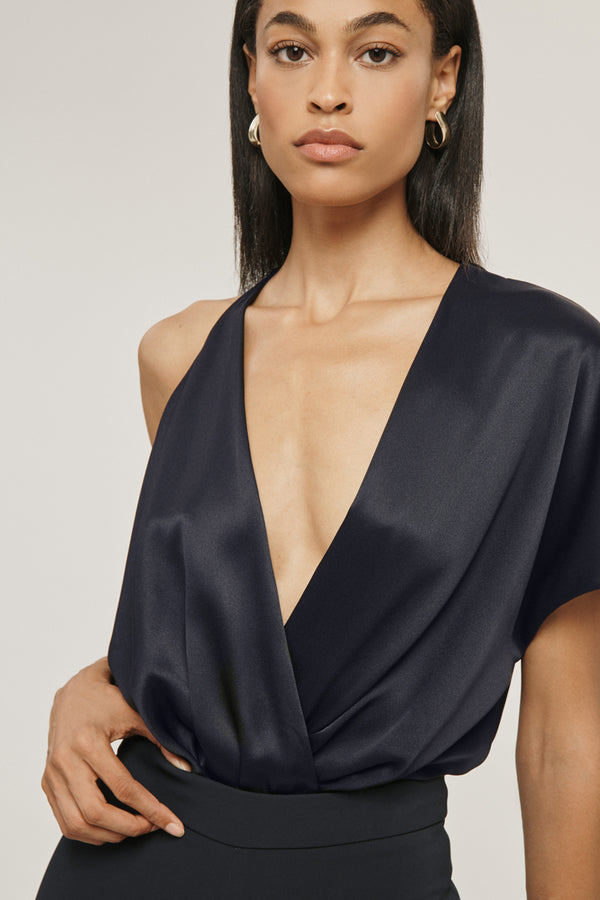 Navy Silk Charmeuse Deep V Bodysuit