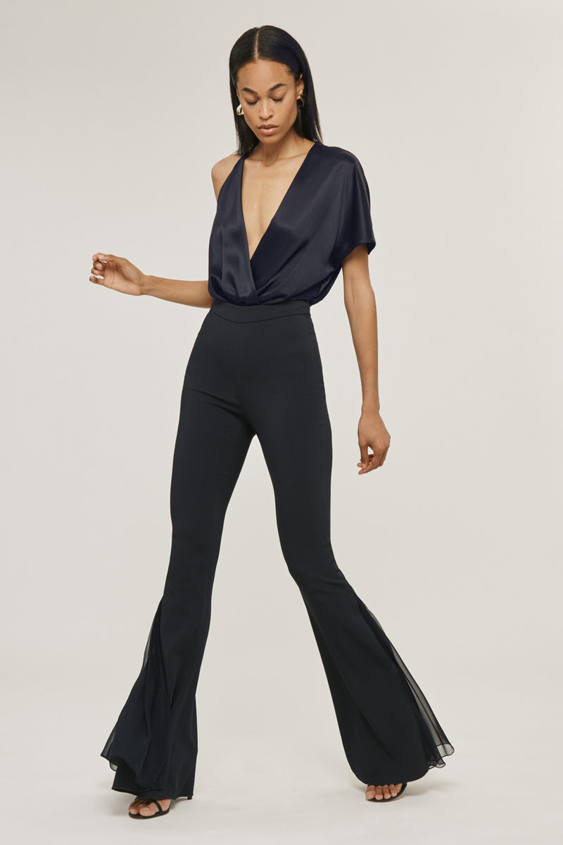 CUSHNIE Navy Silk Charmeuse Deep V Bodysuit