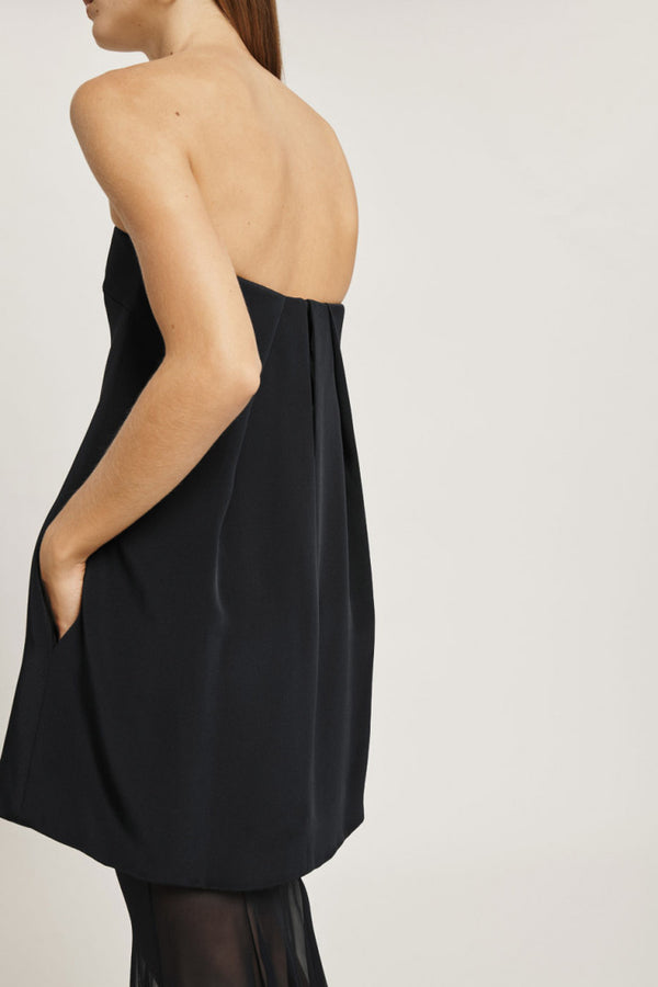 Black Silk Crepe Strapless Gown with Silk Chiffon Layer