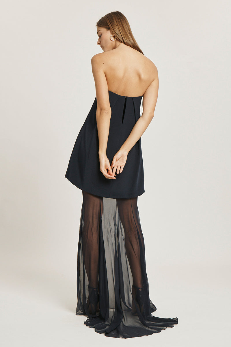 Navy Silk Crepe Strapless Gown with Silk Chiffon Layer