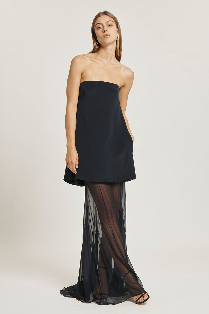 CUSHNIE Navy Silk Crepe Strapless Gown with Silk Chiffon Layer