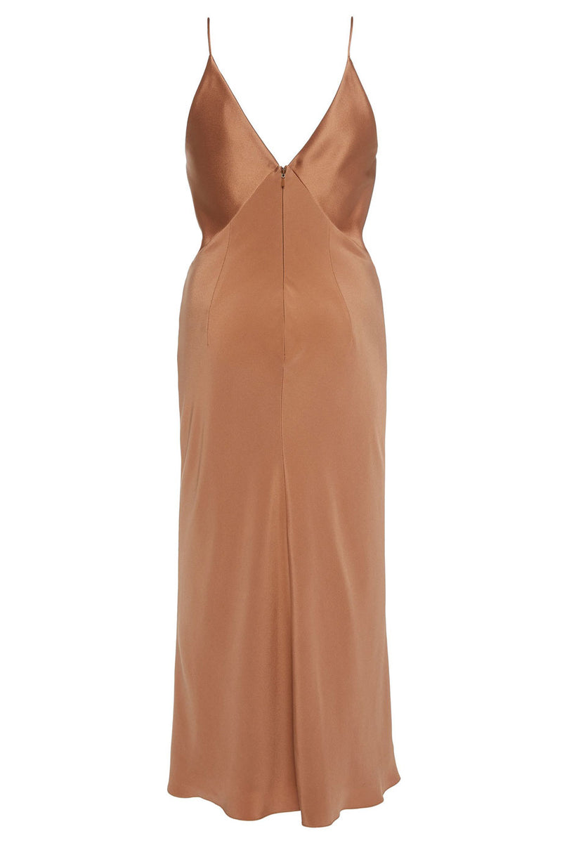 Camel Silk Midi Dress