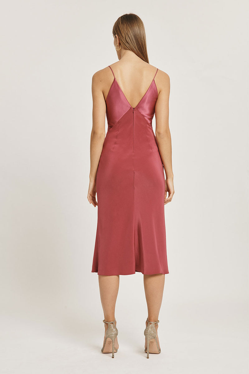 Rose Mauve Silk Midi Dress