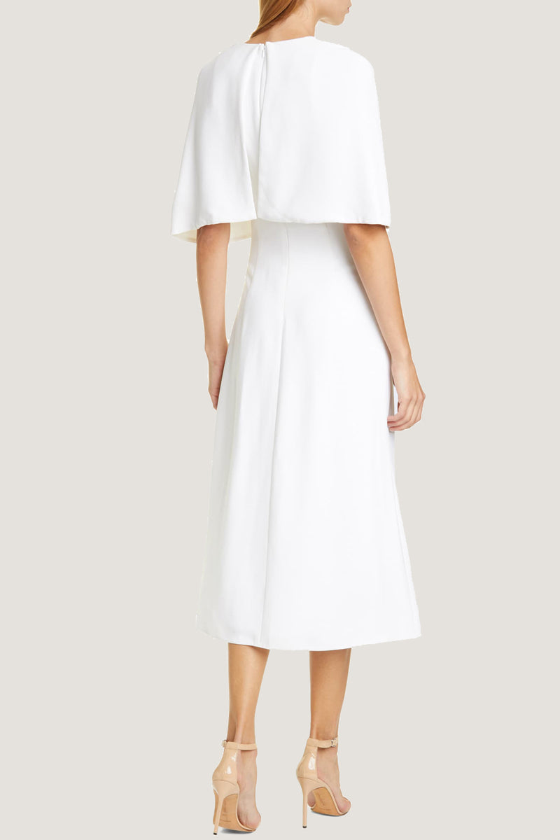 White Cape Sleeve Midi Dress