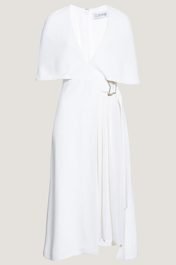 CUSHNIE White Cape Sleeve Midi Dress