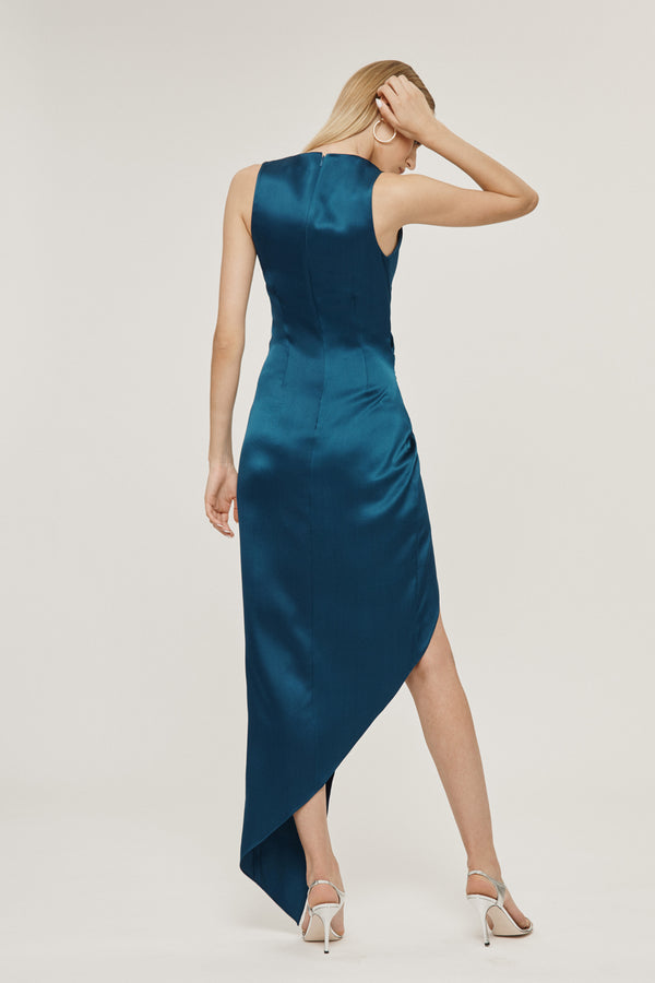 CUSHNIE Dark Teal Silk Charmeuse Asymmetrical Twist Dress