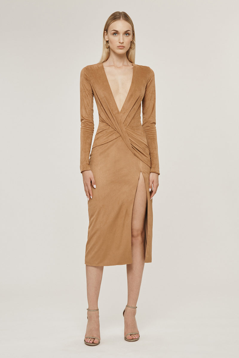 Camel Stretch Ultrasuede Deep V Long Sleeved Dress