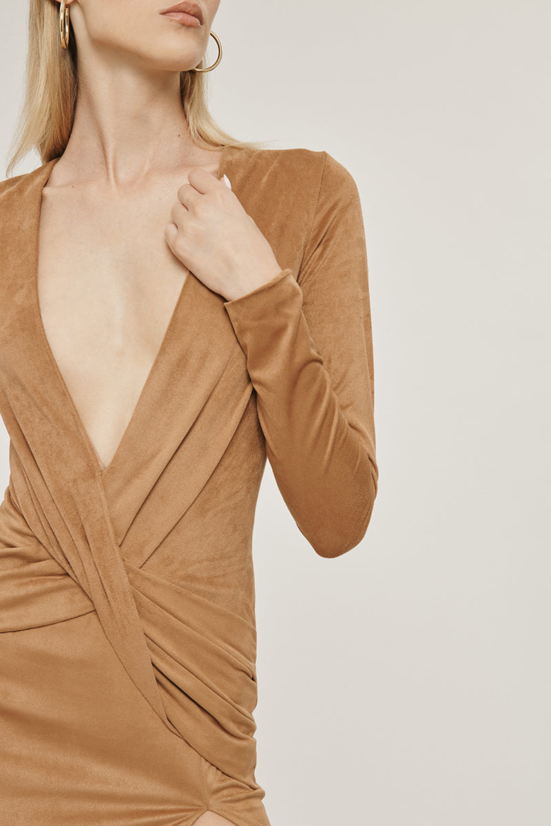 CUSHNIE Camel Stretch Ultrasuede Deep V Long Sleeved Dress