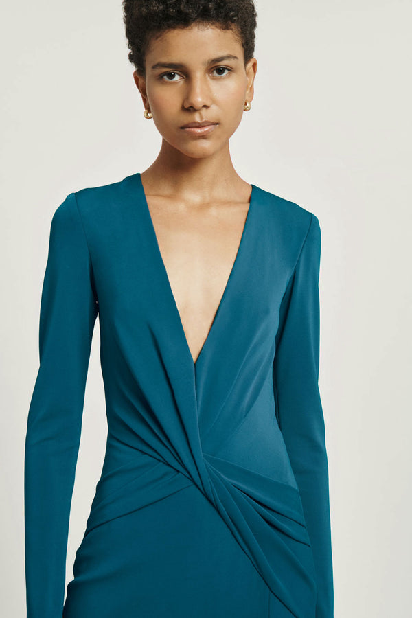 Dark Teal Matte Jersey Deep V Long Sleeved Dress