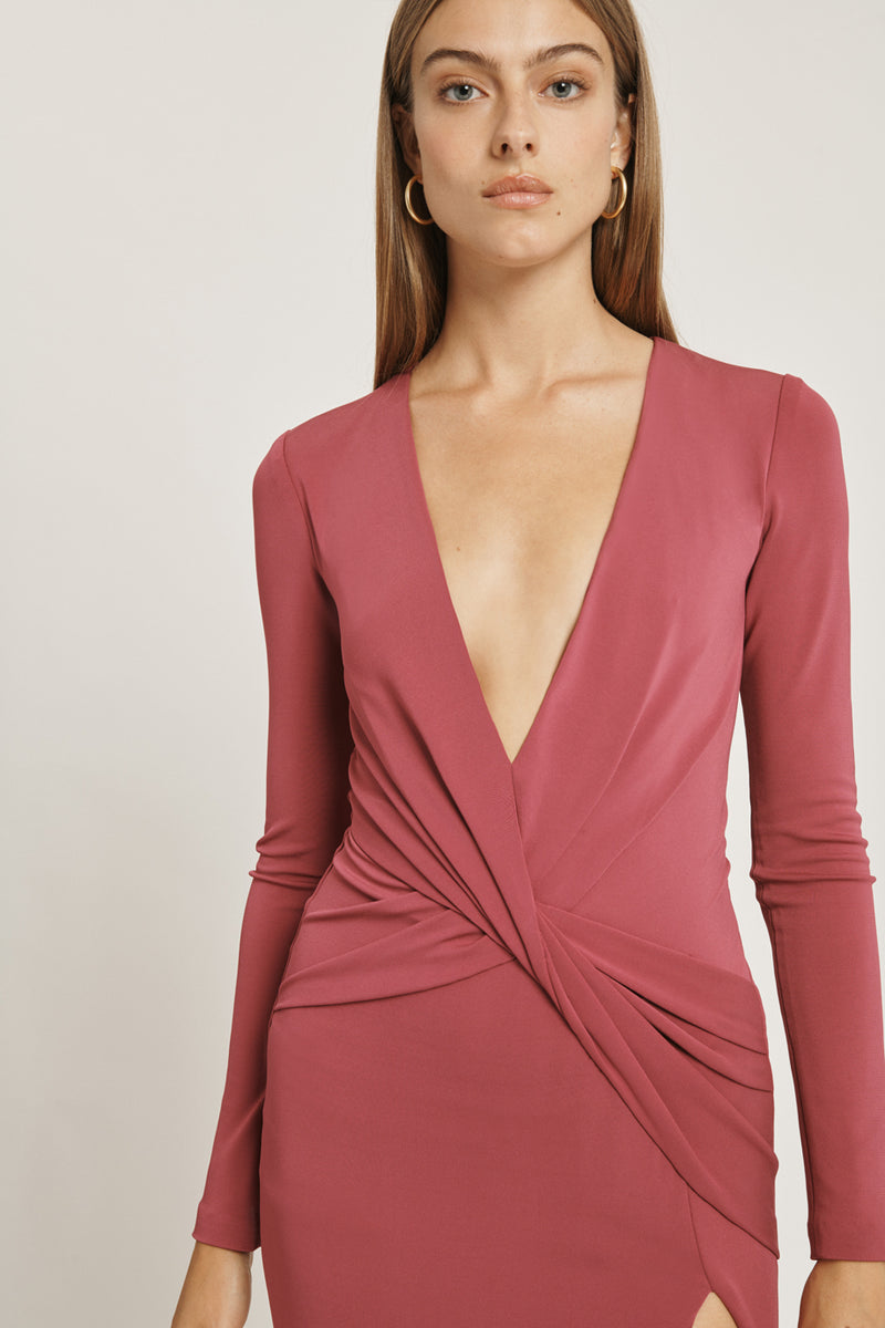 CUSHNIE Rose Mauve Matte Jersey Deep V Long Sleeved Dress