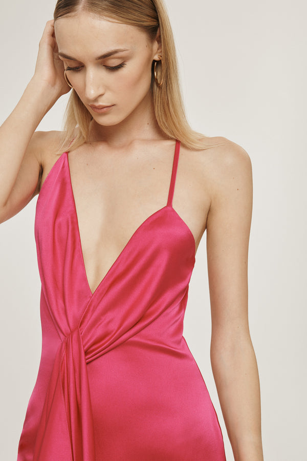 Azalea Silk Charmeuse Halter Mini Dress