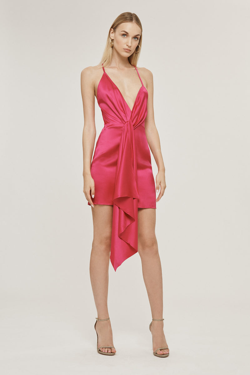 CUSHNIE Azalea Silk Charmeuse Halter Mini Dress