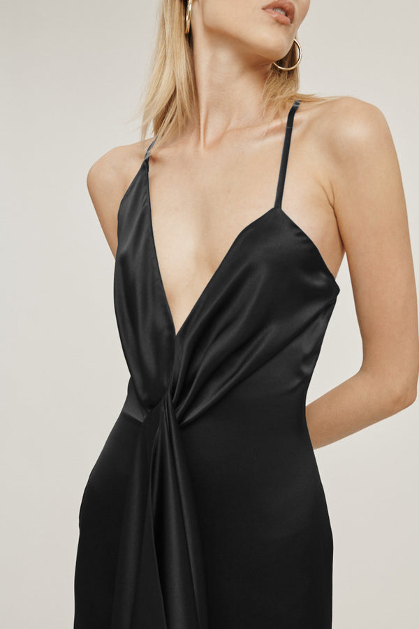 Black Silk Charmeuse Halter Mini Dress