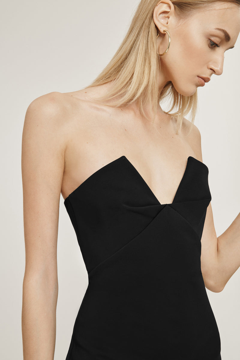 Black Stretch Power Viscose Strapless Mini Dress
