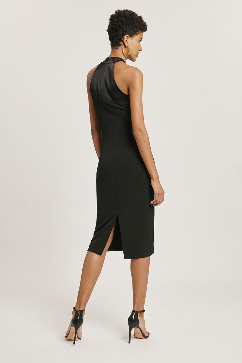 CUSHNIE Black Matte Jersey Pencil Dress