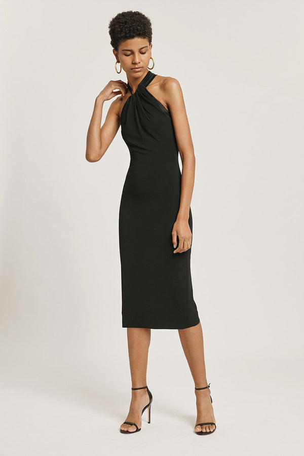 Black Matte Jersey Pencil Dress