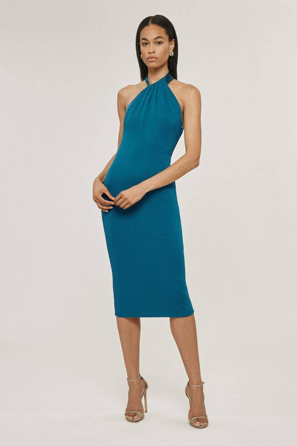 CUSHNIE Dark Teal Matte Jersey Pencil Dress