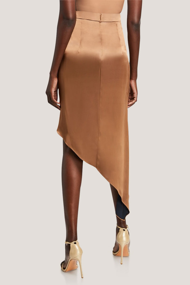 Camel/Navy Silk Charmeuse Midi Skirt · Final Sale