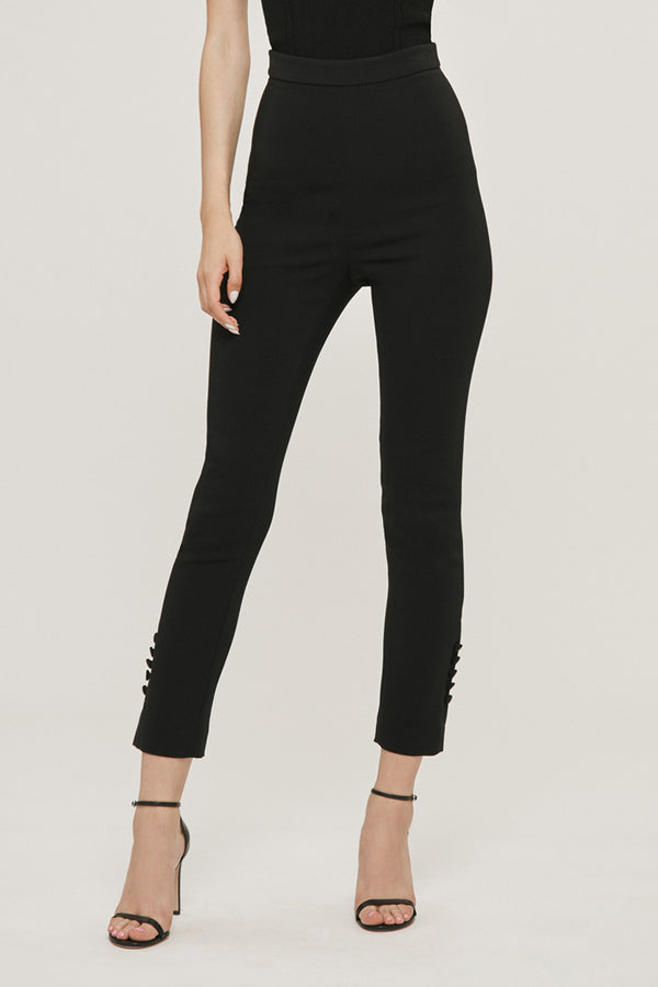 Black Stretch Liquid Cady High Waisted Cropped Pant