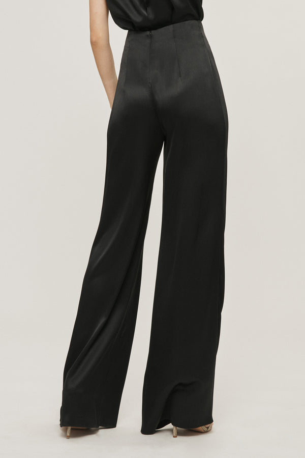 Black Silk Charmeuse Draped Wide Leg Pant
