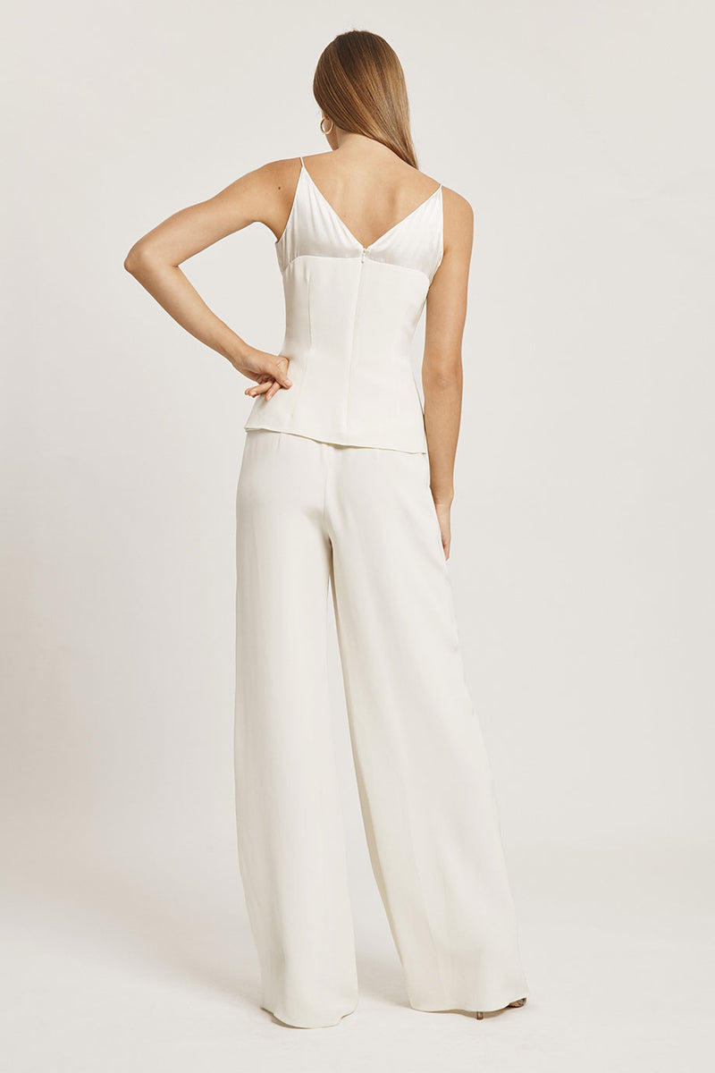 Ivory Silk Charmeuse Draped Wide Leg Pant