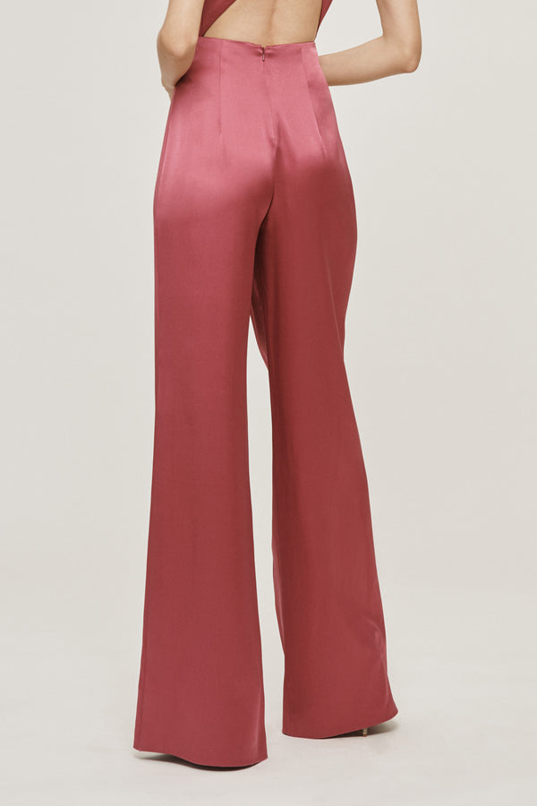 Rose Mauve Silk Charmeuse Draped Wide Leg Pant