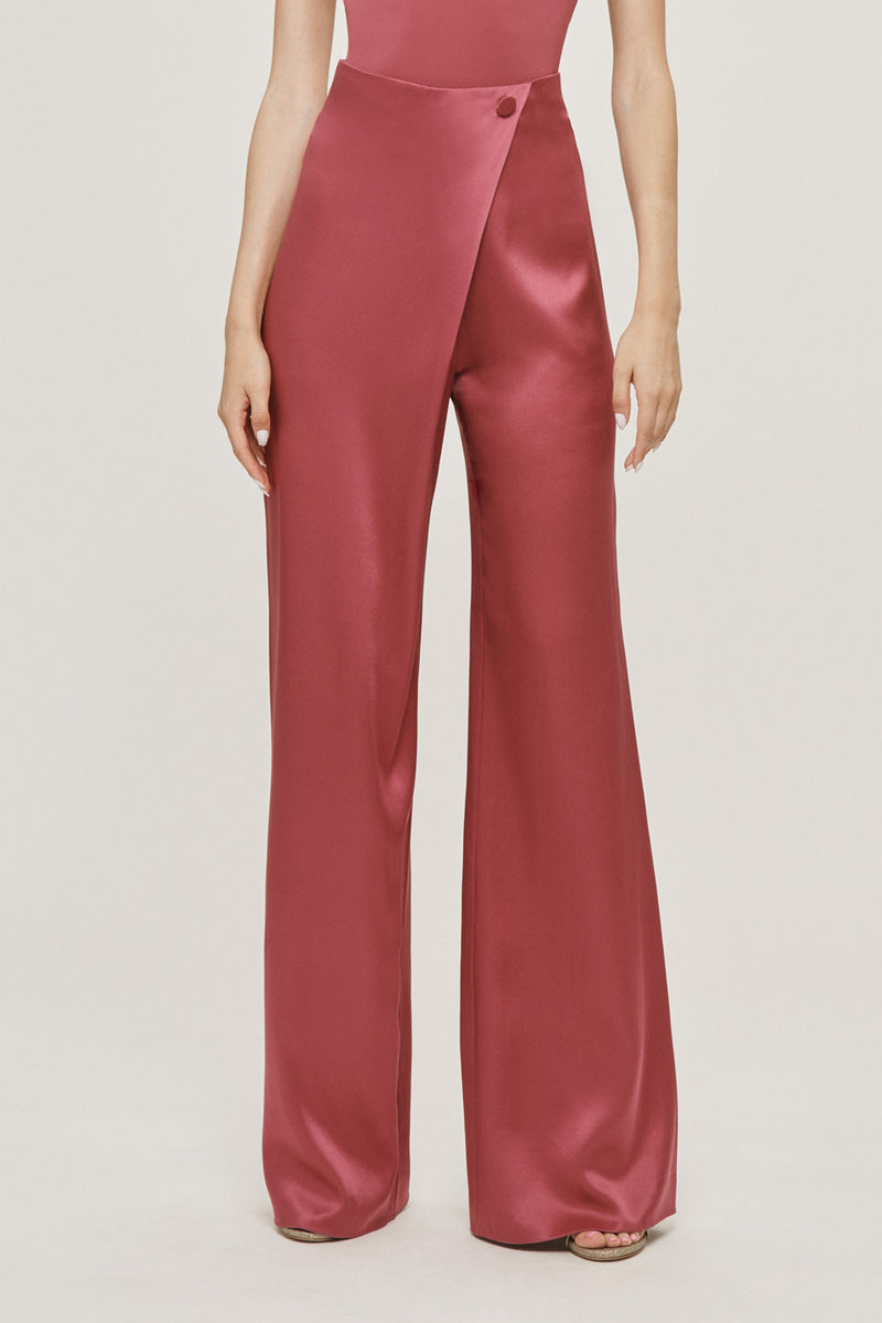 CUSHNIE Rose Mauve Silk Charmeuse Draped Wide Leg Pant