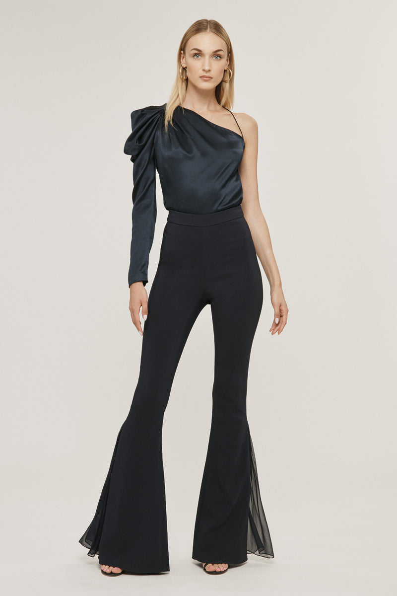 CUSHNIE Navy Stretch Liquid Cady Flare Pant with Silk Chiffon