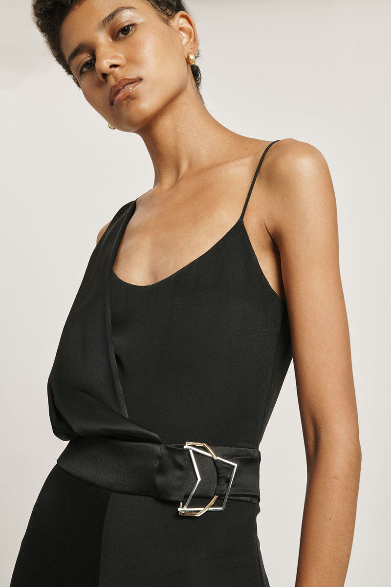 Black Silk Draped Cropped Jumpsuit