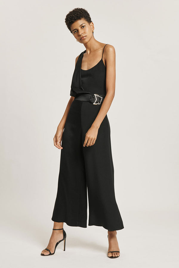CUSHNIE Black Silk Draped Cropped Jumpsuit
