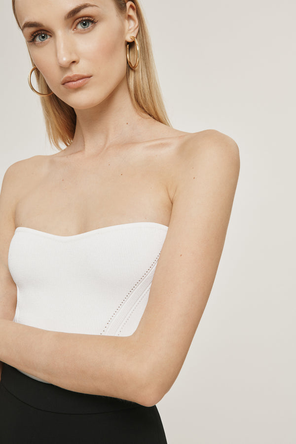 White Stretch Viscose Strapless Knit Top