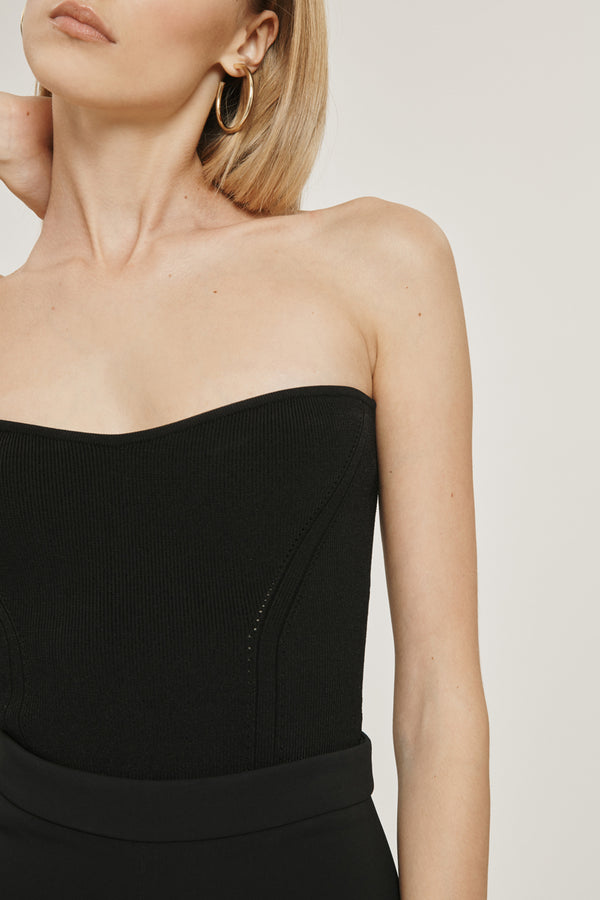 Black Stretch Viscose Strapless Knit Top