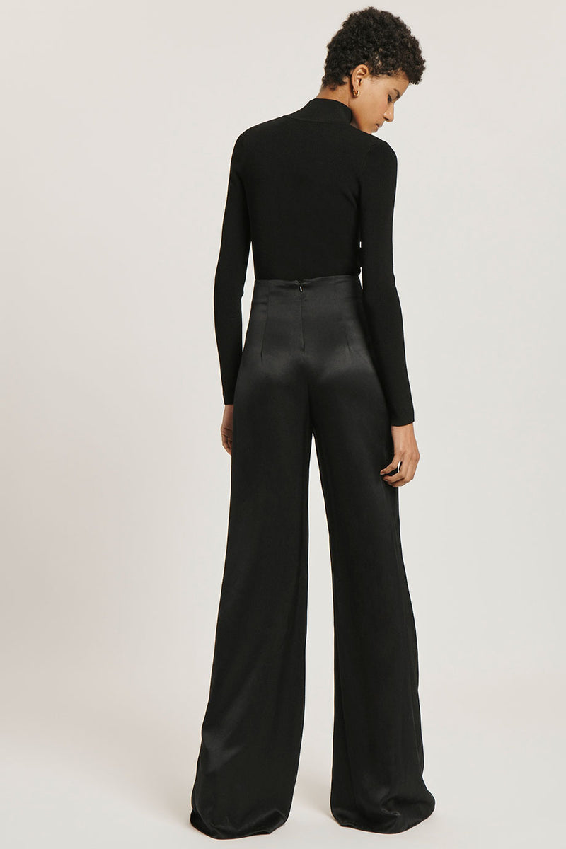 CUSHNIE Black Stretch Viscose Mock Neck Top
