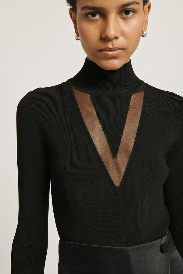 Black Stretch Viscose Mock Neck Top