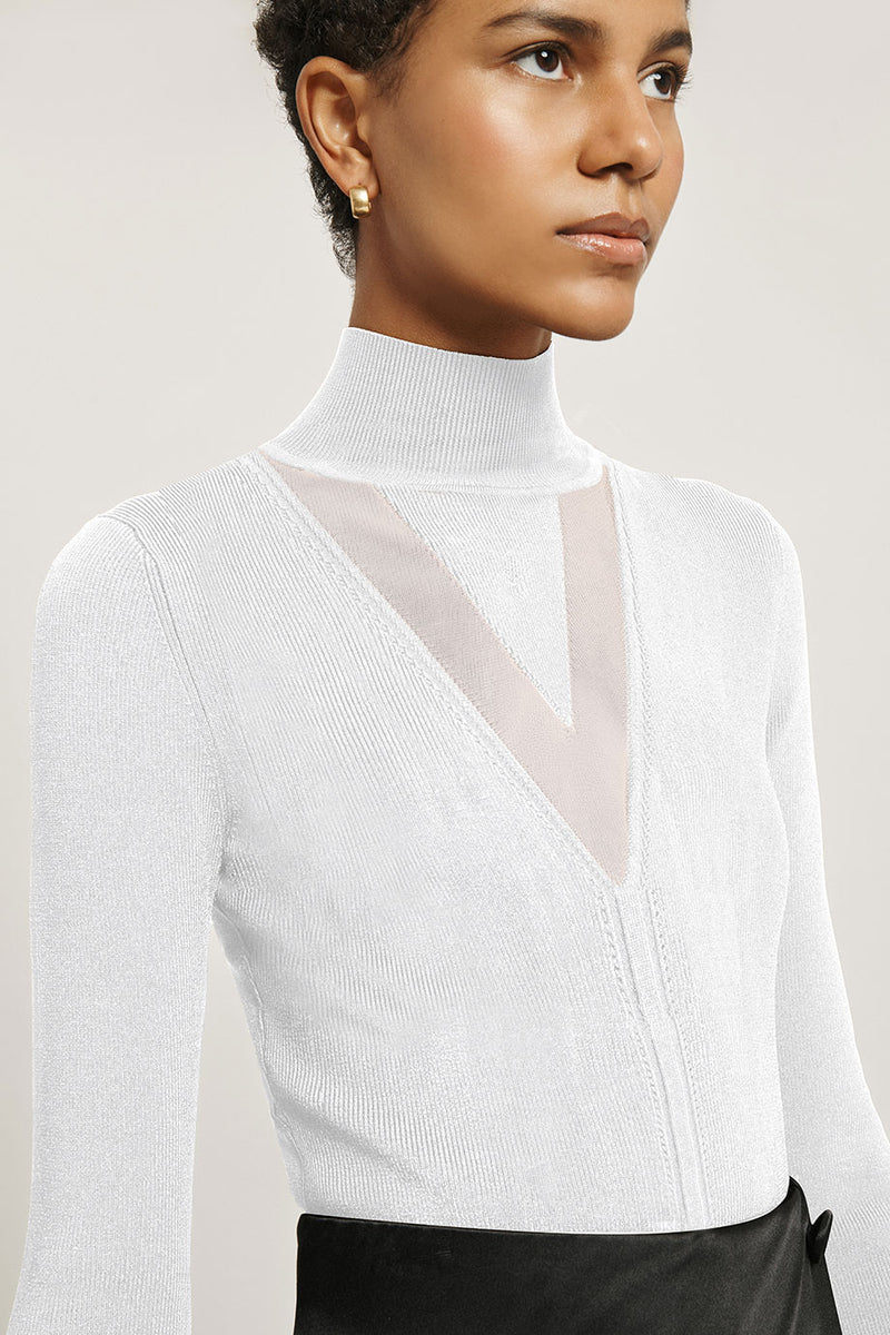 White Stretch Viscose Mock Neck Top