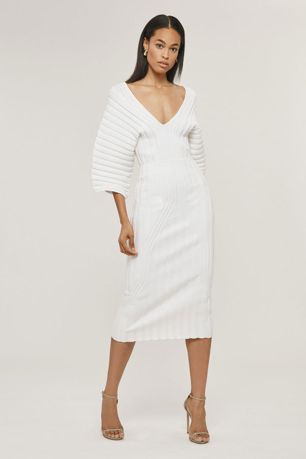 White Rib Knit Dress