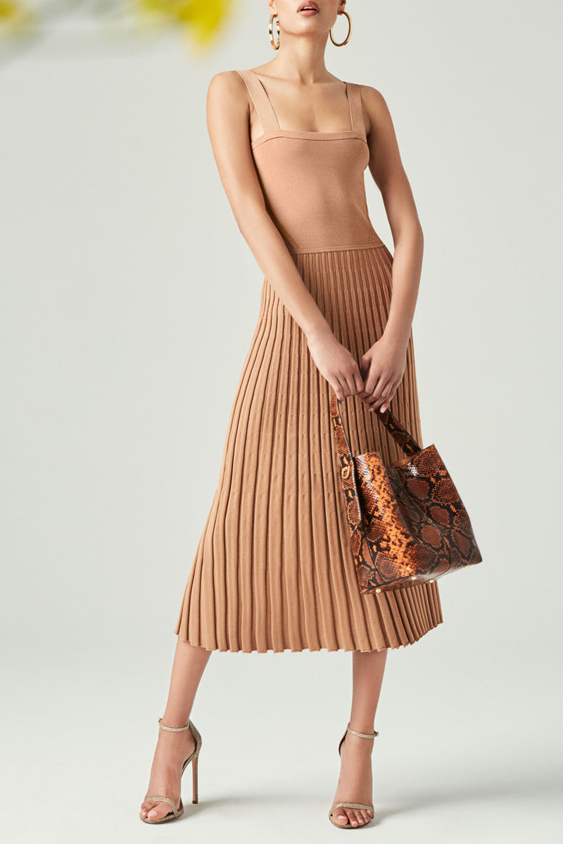 CUSHNIE Camel Midi Fit and Flare Knit Dress