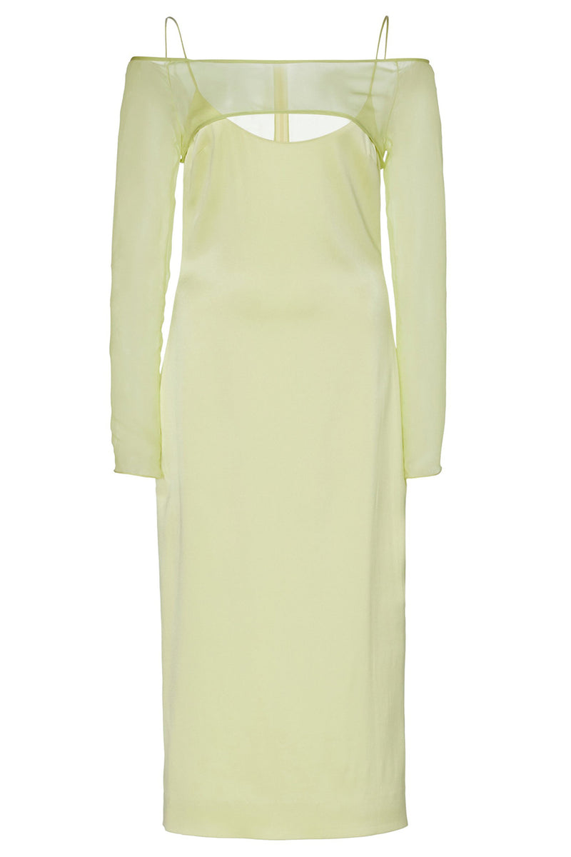 Celery Silk Chiffon Overlay Pencil Dress