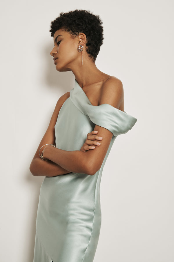 CUSHNIE Sea Green Silk Charmeuse Off the Shoulder Slip Dress