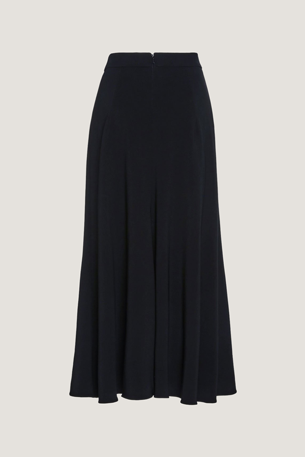 Navy Midi Skirt with Silk Chiffon Panel