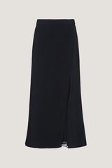 CUSHNIE Navy Midi Skirt with Silk Chiffon Panel