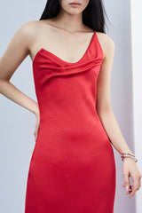 CUSHNIE Cerise Draped Midi Dress