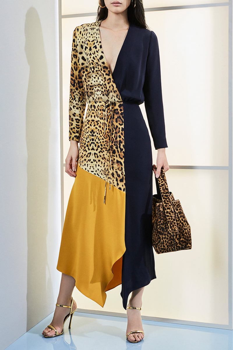 CUSHNIE Leopard Long Sleeve Color Block Silk Dress