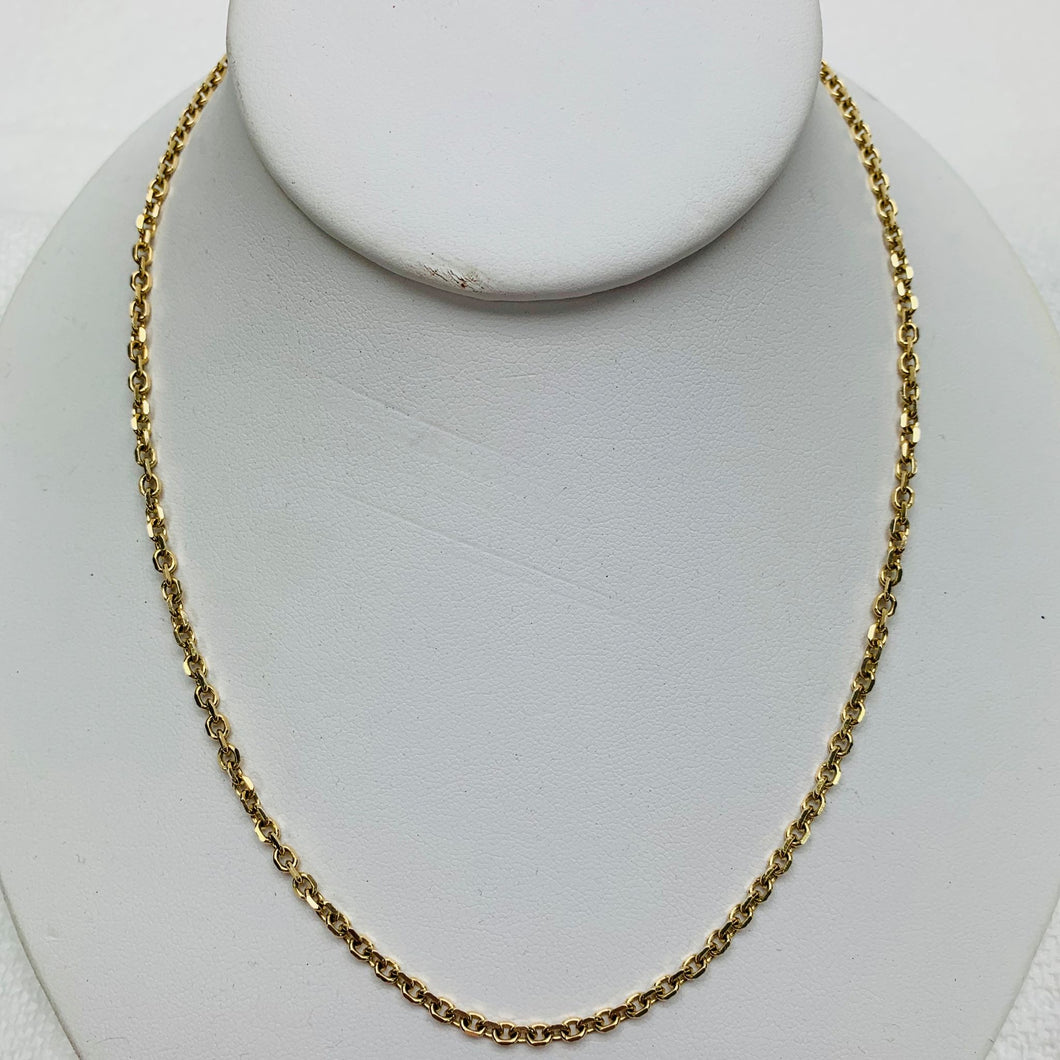 14 Karat Yellow Gold 20 Inch Cable Chain