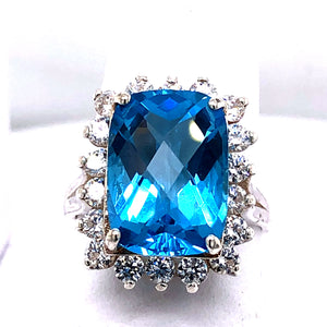Sterling Silver Ring with Swiss Blue Topaz and Cubic Zirconia
