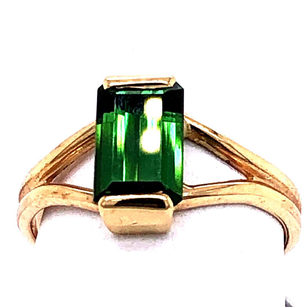 14 Karat Yellow Gold Ring with Green Tourmaline