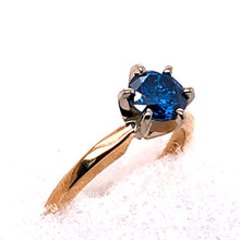 Load image into Gallery viewer, 14 Karat Yellow Gold Ring with Blue Diamond