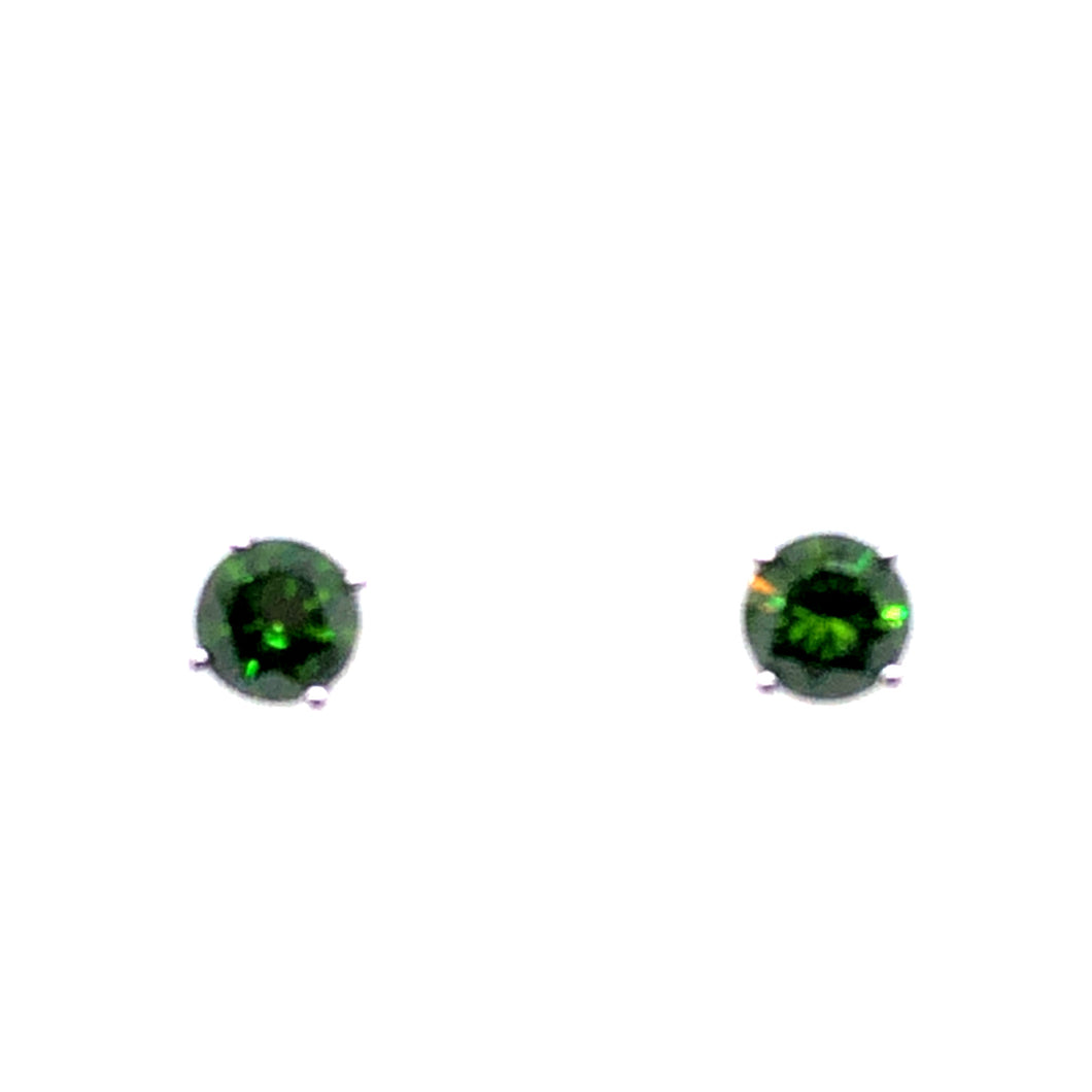 14 Karat White Gold Earrings with Green Diamonds