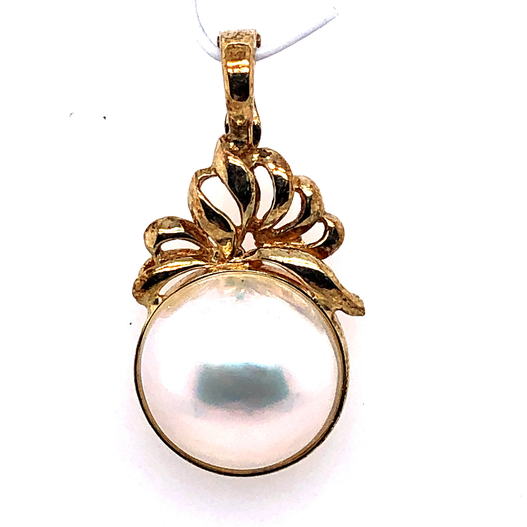 14 Karat Yellow Pendant with Mabe Pearl
